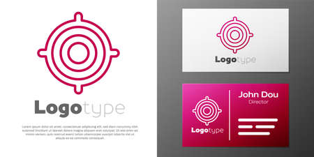 Logotype line Target sport icon isolated on white background. Clean target with numbers for shooting range or shooting. Logo design template element. Vector Illustration
