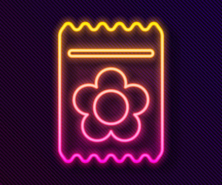 Glowing neon line Pack full of seeds of a specific plant icon isolated on black background. Vector Illustration