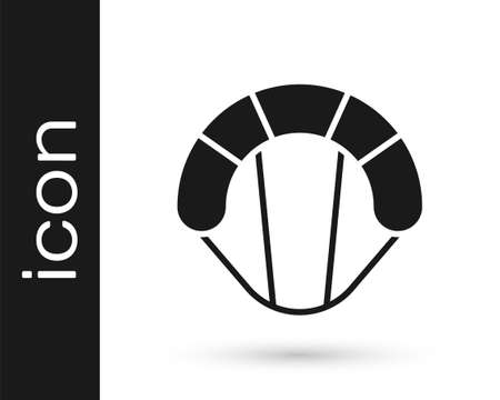 Grey Parachute icon isolated on white background. Extreme sport. Sport equipment. Vector Illustration