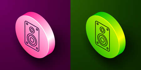 Isometric line Stereo speaker icon isolated on purple and green background. Sound system speakers. Music icon. Musical column speaker bass equipment. Circle button. Vector Illustration