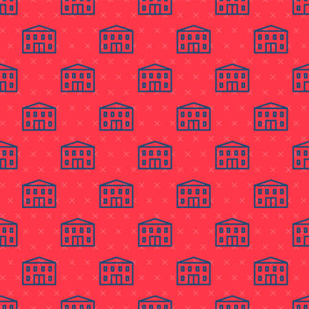 Blue line School building icon isolated seamless pattern on red background. Vector Illustration Stock Illustratie