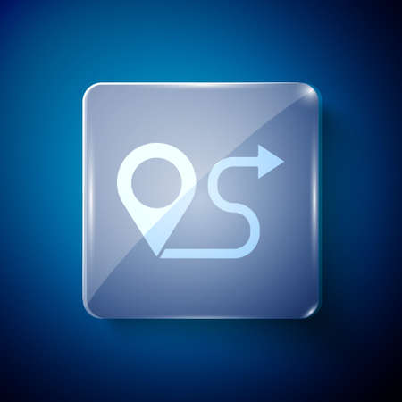 White Route location icon isolated on blue background. Map pointer sign. Concept of path or road. GPS navigator. Square glass panels. Vector Illustration