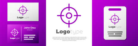 Logotype Target sport icon isolated on white background. Clean target with numbers for shooting range or shooting. Logo design template element. Vector Illustration