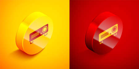 Isometric Presentation, movie, film, media projector icon isolated on orange and red background. Circle button. Vector Illustration