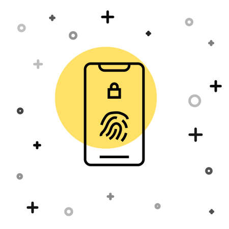 Black line Smartphone with fingerprint scanner icon isolated on white background. Concept of security, personal access via finger on mobile. Random dynamic shapes. Vector Illustration