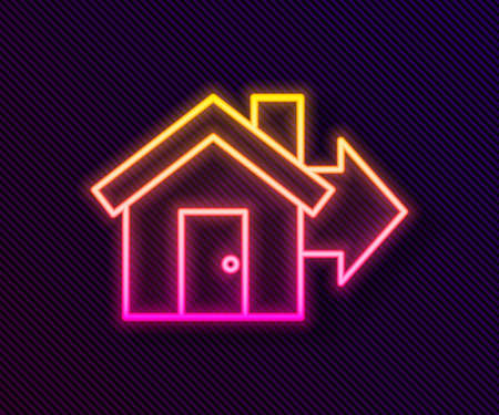 Glowing neon line Sale house icon isolated on black background. Buy house concept. Home loan concept, rent, buying a property. Vector Illustration. Ilustración de vector