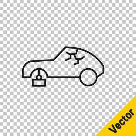 Black line Broken car icon isolated on transparent background. Car crush. Vector Illustration