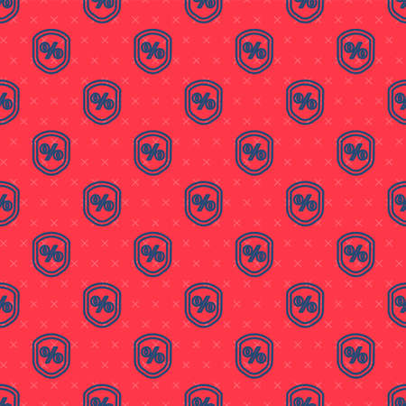 Blue line Loan percent icon isolated seamless pattern on red background. Protection shield sign. Credit percentage symbol. Vector Illustration.