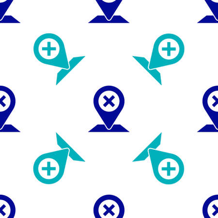 Blue Map pin icon isolated seamless pattern on white background. Navigation, pointer, location, map, gps, direction, place, compass, search concept Vector Illustration Standard-Bild - 150456780