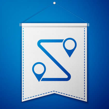 Blue Route location icon isolated on blue background. Map pointer sign. Concept of path or road. GPS navigator. White pennant template. Vector Illustration.
