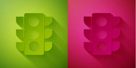 Paper cut Traffic light icon isolated on green and pink background. Paper art style. Vector Illustration Standard-Bild - 150440959