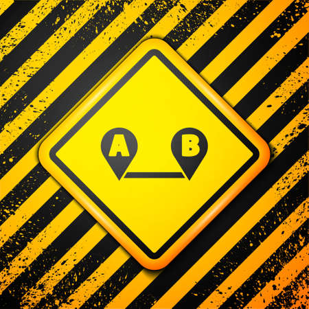 Black Route location icon isolated on yellow background. Map pointer sign. Concept of path or road. GPS navigator. Warning sign. Vector Illustration