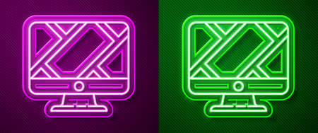 Glowing neon line Computer monitor and folded map with location marker icon isolated on purple and green background. Vector Illustration Illustration