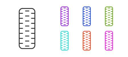 Black line Car tire wheel icon isolated on white background. Set icons colorful. Vector Illustration. Illustration