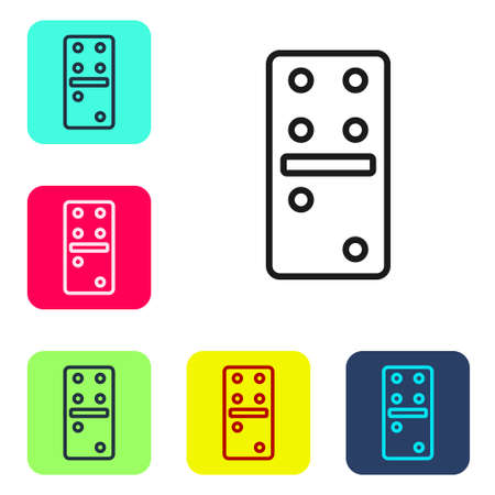 Black line Domino icon isolated on white background. Set icons in color square buttons. Vector Illustration.