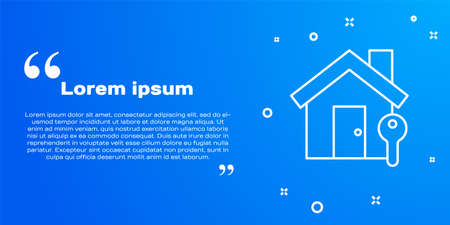 White line House with key icon isolated on blue background. The concept of the house turnkey. Vector Illustration