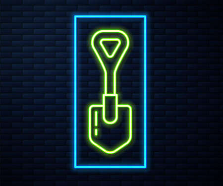 Glowing neon line Shovel icon isolated on brick wall background. Gardening tool. Tool for horticulture, agriculture, farming. Vector Illustration