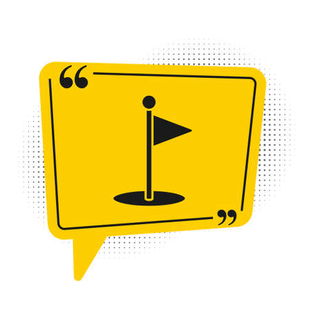 Black Golf flag icon isolated on white background. Golf equipment or accessory. Yellow speech bubble symbol. Vector Illustration. Banco de Imagens - 150546262
