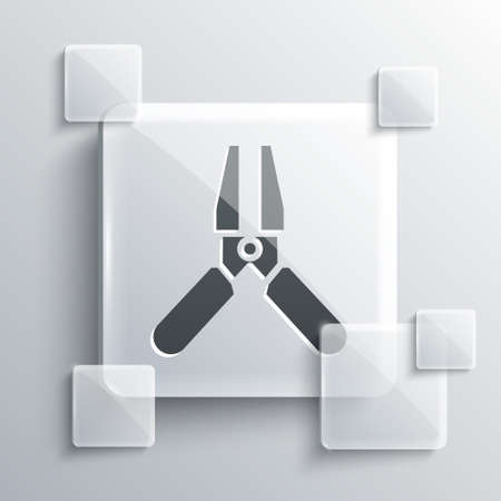 Grey Car battery jumper power cable icon isolated on grey background. Square glass panels. Vector Illustration.  イラスト・ベクター素材