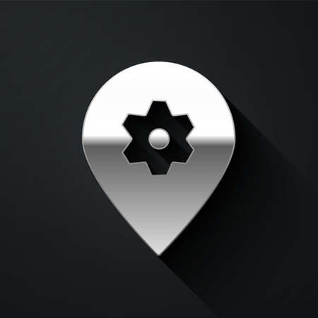 Silver Location with car service icon isolated on black background. Auto mechanic service. Repair service auto mechanic. Long shadow style. Vector Illustration.