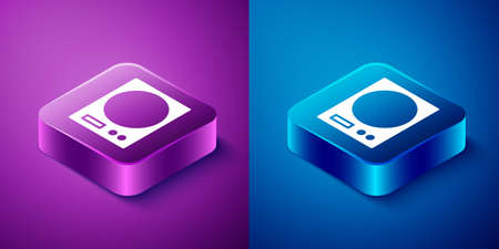 Isometric Electronic scales icon isolated on blue and purple background. Weight measure equipment. Square button. Vector Illustration.