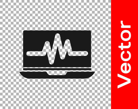 Black Laptop with cardiogram icon isolated on transparent background. Monitoring icon. ECG monitor with heart beat hand drawn.  Vector Illustration.