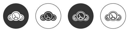 Black Speedometer icon isolated on white background. Circle button. Vector Illustration. 向量圖像