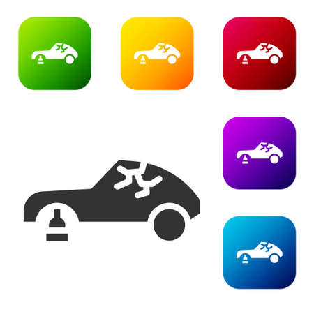 Black Broken car icon isolated on white background. Car crush. Set icons in color square buttons. Vector Illustration.