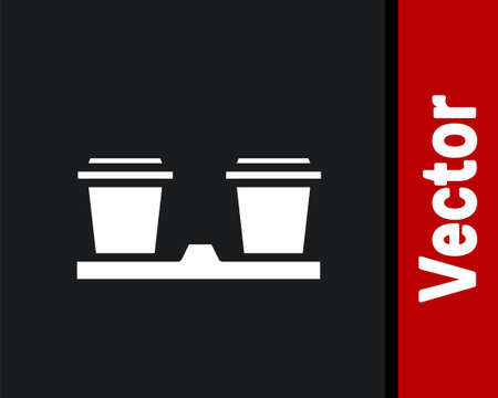 White Coffee cup to go icon isolated on black background. Vector Illustration. 일러스트