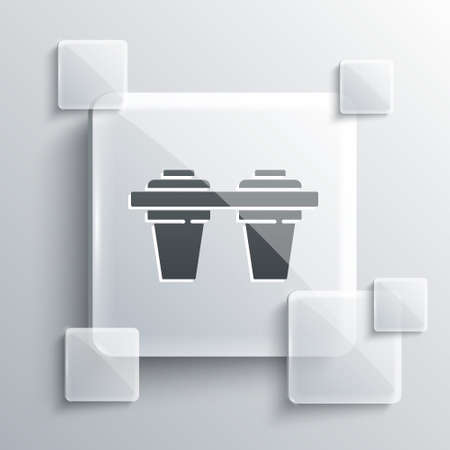 Grey Water filter icon isolated on grey background. System for filtration of water. Reverse osmosis system. Square glass panels. Vector Illustration.