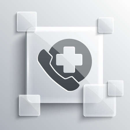 Grey Emergency phone call to hospital icon isolated on grey background. Square glass panels. Vector Illustration. Ilustrace