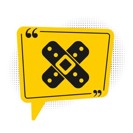 Black Crossed bandage plaster icon isolated on white background. Medical plaster, adhesive bandage, flexible fabric bandage. Yellow speech bubble symbol. Vector Illustration. Ilustração