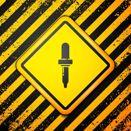 Black Pipette icon isolated on yellow background. Element of medical, chemistry lab equipment. Pipette with drop. Medicine symbol. Warning sign. Vector Illustration.