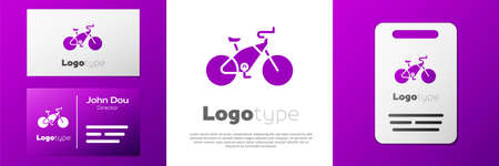 Logotype Bicycle icon isolated on white background. Bike race. Extreme sport. Sport equipment. Logo design template element. Vector Illustration.