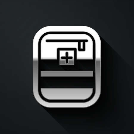Silver First aid kit icon isolated on black background. Medical box with cross. Medical equipment for emergency. Healthcare concept. Long shadow style. Vector Illustration.