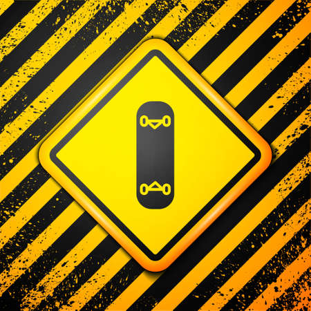 Black Skateboard trick icon isolated on yellow background. Extreme sport. Sport equipment. Warning sign. Vector Illustration.