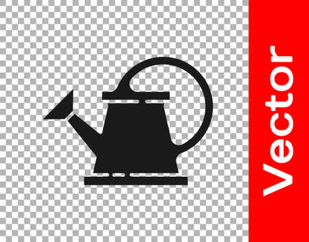 Black Watering can icon isolated on transparent background. Irrigation symbol. Vector Illustration.