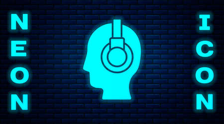 Glowing neon Man with a headset icon isolated on brick wall background. Support operator in touch. Concept for call center, client support service. Vector Illustration. Ilustrace
