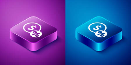 Isometric Money coin with percent icon isolated on blue and purple background. Cash Banking currency sign. Square button. Vector Illustration. Ilustrace