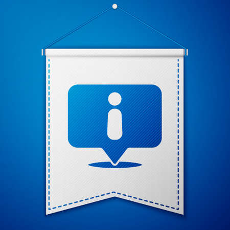 Blue Information icon isolated on blue background. White pennant template. Vector Illustration.