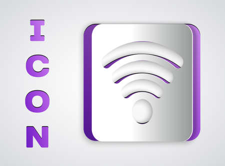Paper cut Wi-Fi wireless internet network symbol icon isolated on grey background. Paper art style. Vector Illustration.