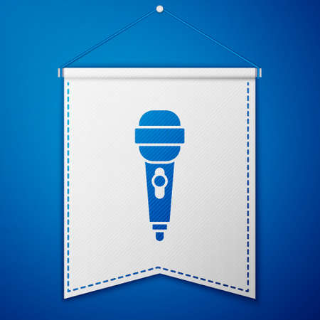 Blue Microphone icon isolated on blue background. On air radio mic microphone. Speaker sign. White pennant template. Vector Illustration.