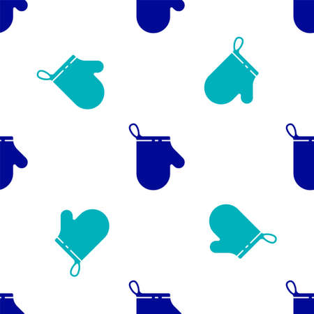 Blue Oven glove icon isolated seamless pattern on white background. Kitchen potholder sign. Cooking glove. Vector Illustration. Illustration