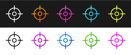 Set Target sport icon isolated on black and white background. Clean target with numbers for shooting range or shooting. Vector Illustration