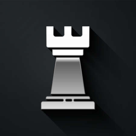 Silver Business strategy icon isolated on black background. Chess symbol. Game, management, finance. Long shadow style. Vector Illustration Ilustração
