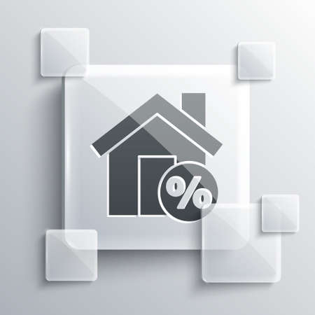 Grey House with percant discount tag icon isolated on grey background. House percentage sign price. Real estate home. Square glass panels. Vector Illustration.