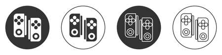 Black Gamepad icon isolated on white background. Game controller. Circle button. Vector Illustration