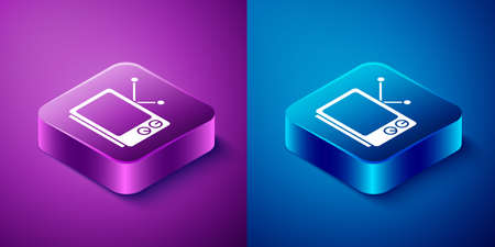 Isometric Retro tv icon isolated on blue and purple background. Television sign. Square button. Vector Illustration 向量圖像
