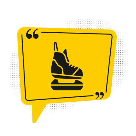 Black Skates icon isolated on white background. Ice skate shoes icon. Sport boots with blades. Yellow speech bubble symbol. Vector Illustration. Ilustração