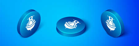 Isometric Jet ski icon isolated on blue background. Water scooter. Extreme sport. Blue circle button. Vector Illustration.